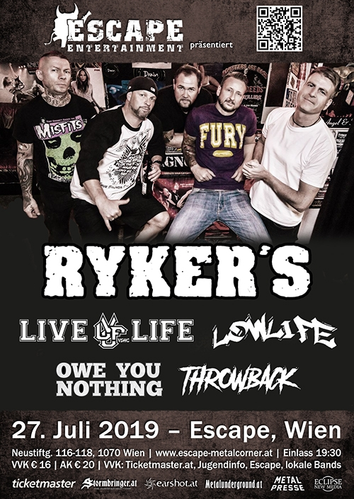 Ryker´s, Live Life, Lowlife, Owe You Nothing, Throwback